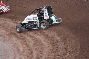 Midget car racing - Australian speedcar racer Matt Smith racing his midget car in the United States