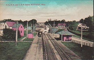 Blue Hill Avenue (MBTA station) - Early 20th century postcard of Mattapan station, near the modern station site