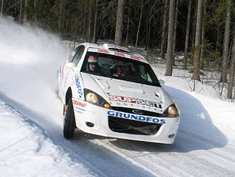 Matthew Wilson - Wilson driving a Ford Focus RS WRC 02 in the Finnish Rally Championship in 2005.