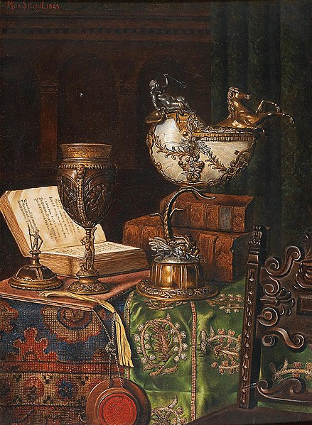 File:Max Schödl - Still Life with Nautilus Goblet and Books.jpg