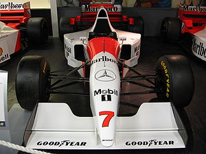 McLaren MP4/10 - McLaren MP4/10B, driven only twice by Nigel Mansell, with widened cockpit on display at The Donington Collection .