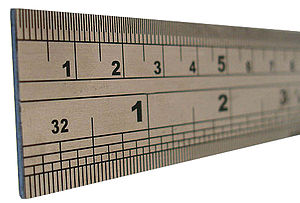Unit of length - A ruler, depicting two customary units of length, the centimetre and the inch