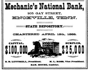 Mechanics' Bank and Trust Company Building - Advertisement for Mechanics' National Bank, 1884