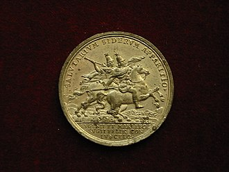 Battle of Oudenarde - Commemorative medal struck after the battle, depicting the victorious allied commanders as the Dioscuri (obverse)