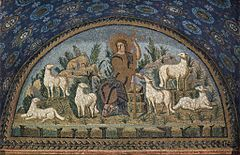 The 5th-century Ravenna mosaic illustrates the concept of  The Good Shepherd.