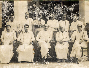 Vakkom Majeed - Vakkom Majeed (standing right) with other members of Travancore-Cochin (Thiru-Kochi) state assembly in 1950s