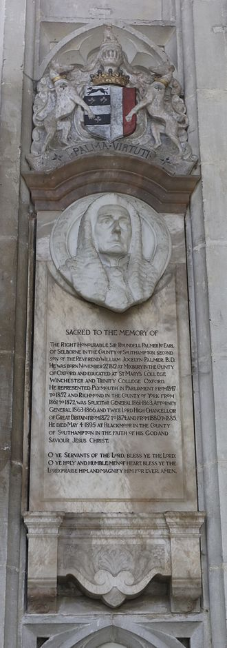 Roundell Palmer, 1st Earl of Selborne - Memorial in Winchester Cathedral