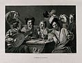 Men and boys at a table drinking as a musician plays the lut Wellcome V0019496.jpg