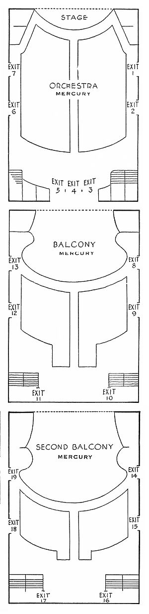 Comedy Theatre (New York City) - Mercury Theatre seating plan from the playbill for Heartbreak House (1938)