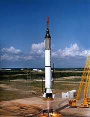 May 5, 1961 launch of Redstone rocket and NASA's Mercury Freedom 7 with Alan Shepard on the United States' first manned sub-orbital spaceflight.