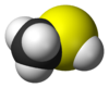 Space-filling model of the methanethiol molecule