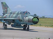 A Bulgarian MiG-21 taxis at Graf Ignatievo Air Base, Bulgaria during a bilateral exercise between the U.S. and Bulgarian air forces.