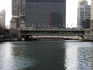 Multilevel streets in Chicago - The Michigan Avenue Bridge crossing the Chicago River.