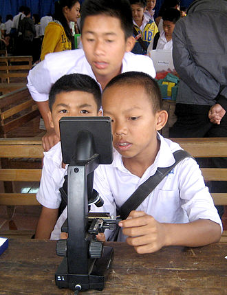 Digital microscope - A digital microscope allows several students in Laos to examine insect parts. This model cost about USD 150.
