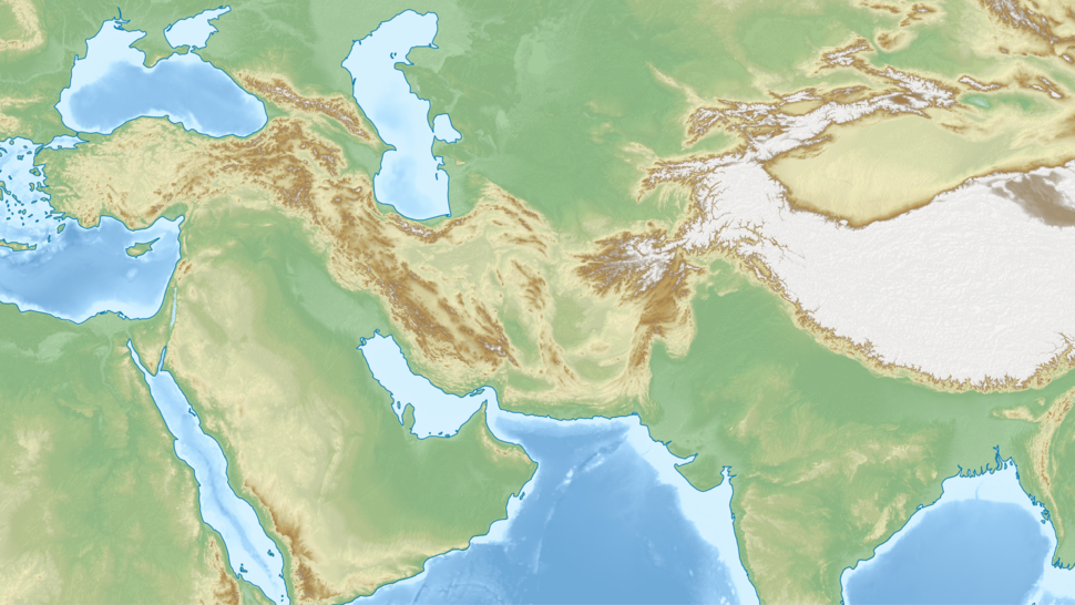 Middle East topographic map
