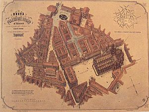 Piazza del Duomo, Milan - Giuseppe Mengoni's plan. The plan is largely reflected in today's Piazza del Duomo, with the most notable exception being the absence of the southern triumph arch, symmetric to that leading into Galleria Vittorio Emanuele II