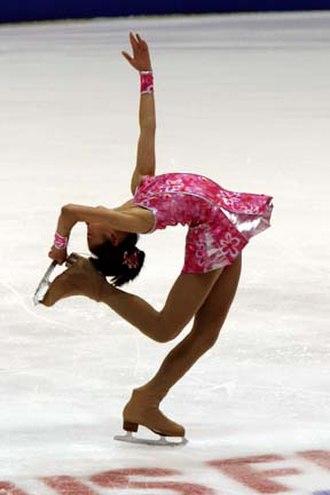 Mirai Nagasu - Nagasu performs a catch-foot layback spin at the 2007 Junior Grand Prix, USA.