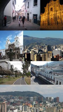 Med uret fra oven:   Calle La Ronda, Iglesia de la Compañía de Jesús, El Panecillo set fra det nordlige Quito, Palacio de Carondelet, Quitos nordlige centrum, Parque La Carolina og Iglesia y Monasterio de San Francisco.