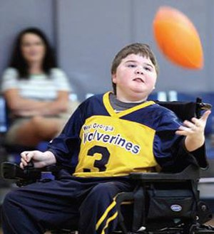 Wheelchair Football (American) - Image: Moterized Wheelchair Football Player