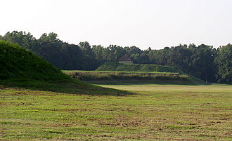 Moundville Archaeological Site - A view across the plaza from mound J to mound B, with mound A in the center.