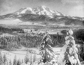 Mount Shasta covered in snow, Siskiyou County, ca.1900-1940 (CHS-5464).jpg