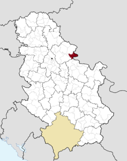 Location of Bela Crkva within Serbia