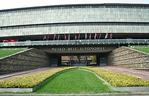 Museo Nazionale dell'Automobile - The entrance to the museum building, work of architect Amedeo Albertini, before the 2011 restoration.