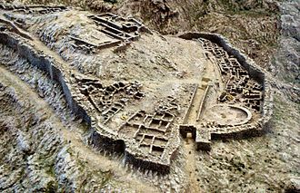 Grave Circle A, Mycenae - Model of Mycenae. Grave Circle A is located on the upper left of the main entrance.