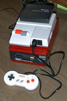The AV Famicom with the Disk System add-on attached