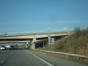 New York State Route 78 - US 20 and NY 78, eastbound and northbound, respectively, at the interchange with NY 400 in West Seneca