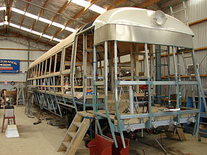 Pahiatua Railcar Society - RM 5 under restoration.