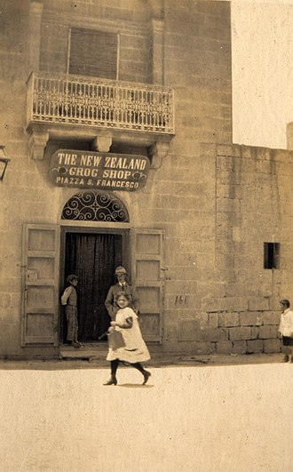 Victoria, Gozo - The New Zealand Grog Shop, Piazza San Francesco, Victoria (Rabato), island of Gozo, c.1916. The shop doubtless had an extensive clientel among the New Zealand troops stationed on Gozo.