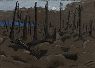 Paul Nash (artist) - Sunrise, Inverness Copse (1917), collection of the Imperial War Museum, London