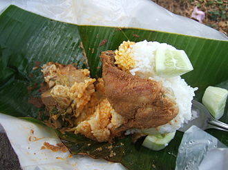 Ayam goreng - Nasi bungkus Padang with Padang style ayam goreng.