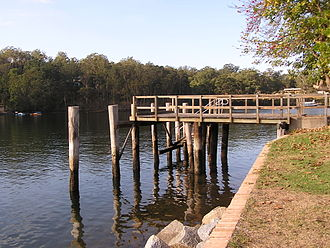 Illawarra Steam Navigation Company - Wharf at Nelligen on the Clyde River.