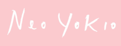 "Pink and yellow text spelling ""Neo Yokio"""