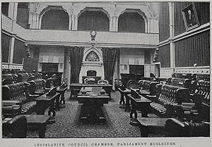 New Zealand Parliament - The first Debating Chamber of the Legislative Council, 1899.