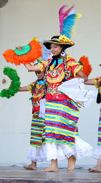 Nicaraguan women wearing the Mestizaje costume, which is a traditional costume worn to dance the Mestizaje dance. The costume demonstrates the Spanish influence upon Nicaraguan clothing. Nicaragua Mestizaje.jpg