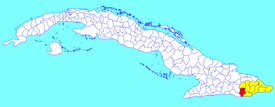 Niceto Pérez municipality (red) within  Guantánamo Province (yellow) and Cuba