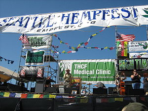 Seattle Hempfest - Seattle city council member Nick Licata speaking at the 2009 Seattle Hempfest
