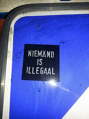 No one is illegal - No one is illegal sticker in Dutch