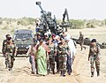 Nirmala Sitharaman, the Chief of Army Staff, General Bipin Rawat and other senior Defence & Army officers coming out after witnessing firing of ATAGS and MBT Arjun, at Pokhran Field Firing Range, Rajasthan.jpg