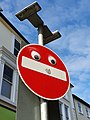 No entry sign with googly eyes, Penzance, March 2021.jpg