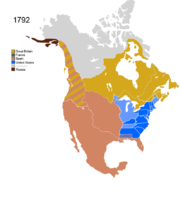 Map showing Non-Native Nations Claim_over NAFTA countries c. 1792