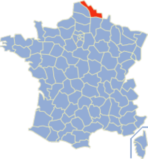 Communes of the Nord department - Image: Nord Position