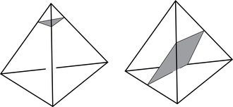 Normal surface - A normal surface intersects a tetrahedron in (possibly many) triangles (see above left) and quads (see above right)