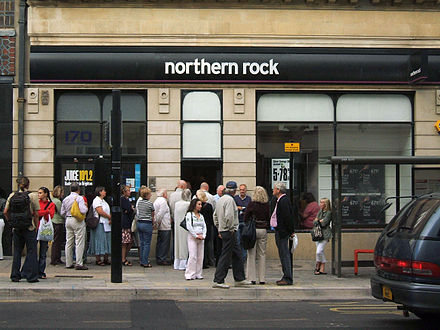 A bank run at a branch of the Northern Rock bank in Brighton, England on 14 September 2007 amid speculation of problems, prior to its 2008 nationalisation. Northern Rock Queue.jpg