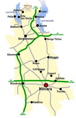 Mappa stradale della provincia di Novara