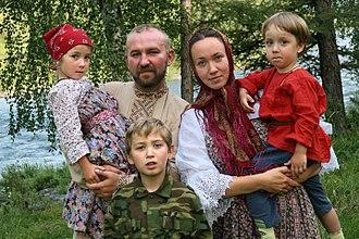 Siberia - Siberian Cossack family in Novosibirsk