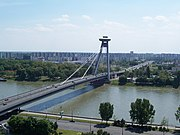 Nový Most (New Bridge) and the Petržalka borough from the Bratislava Castle